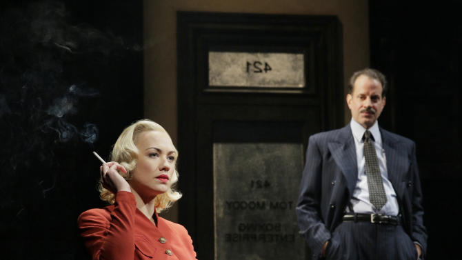 """This undated image shows actors Yvonne Strahovski, left, and Danny Mastrogiorgio in Lincoln Center Theater's 75th anniversary production of """"Golden Boy"""" by Clifford Odets, directed by Bartlett Sher, in New York. Strahovski is making her Broadway debut in fall 2012 with the play, but she's never actually caught a Broadway show before. (AP Photo/Paul Kolnik)"""