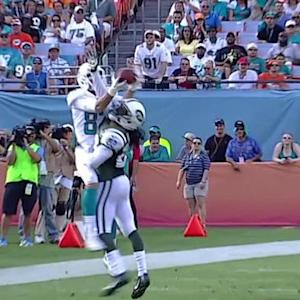 Miami Dolphins wide receiver Brian Hartline leaps for 33-yard reception