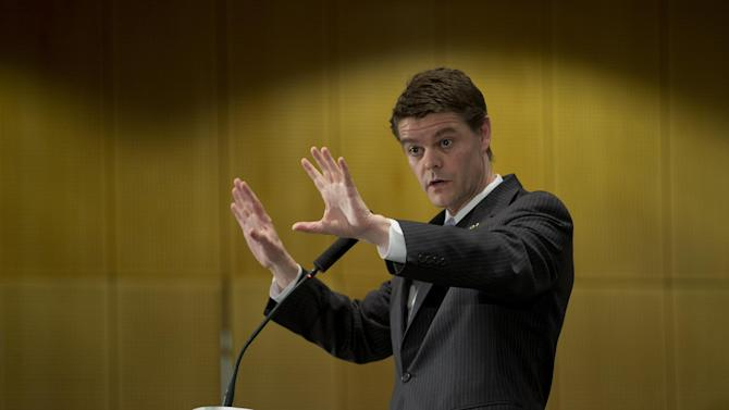 John T. Morton, Director of U.S. Immigration and Customs Enforcement (ICE) gestures during his speech at the occasion of the official launch of the cybercrime fighting center at the headquarters of he EU police unit Europol in The Hague. The Hague, Netherlands, Friday Jan. 11, 2013. (AP Photo/Peter Dejong)