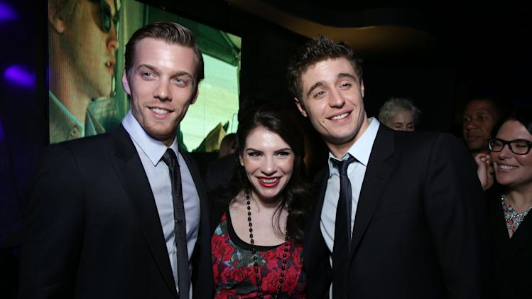 Jake Abel, Author Stephenie Meyer and Max Irons at Open Road Films Los Angeles Premiere of 'The Host' held at the ArcLight Hollywood, on Tuesday, March, 19, 2013 in Los Angeles. (Photo by Eric Charbonneau/Invision for Open Road Films/AP Images)