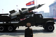 A missile is displayed during a military parade in Pyongyang on April 15. Regional tensions have risen since Pyongyang went ahead with a long-range rocket launch last Friday, defying international calls to desist