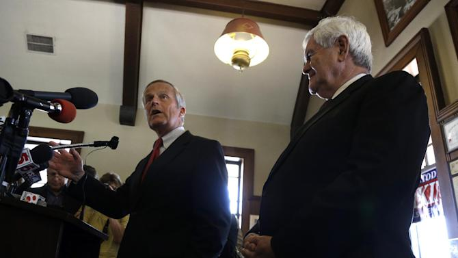 Missouri Republican Senate candidate, Rep. Todd Akin, R-Mo., left, accompanied by former House Speaker Newt Gingrich, speaks during news conference, Monday, Sept. 24, 2012, in Kirkwood, Mo. Akin is seeking to unseat incumbent Sen. Claire McCaskill, D-Mo. in the November election. (AP Photo/Jeff Roberson)