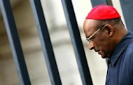 Cardinal Wilfrid Fox Napier of South Africa leaves the Vatican after the general congregation meeting April 12, 2005. REUTERS/Max Rossi/Files