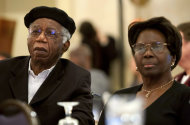 This 2010 photo provided by Brown University shows Chinua Achebe, left, with his wife Christie Achebe on campus in Providence, R.I. Achebe, an internationally celebrated Nigerian author, statesman and dissident, has died at age 82. Achebe&#39;s 1958 novel, &quot;Things Fall Apart,&quot; is widely regarded as the first major work of modern African fiction and inspired others to tell the continent&#39;s story through the eyes of those who lived there. (AP Photo/Brown University, Mike Cohea)