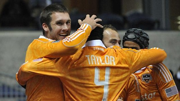 Will Bruin of Houston Dynamo celebrates his goal against the Chicago Fire in the MLS play-offs (AFP)
