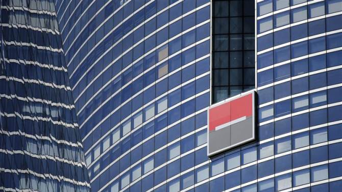 The logo of French bank Societe Generale is seen on a building in the financial district of La Defense near Paris