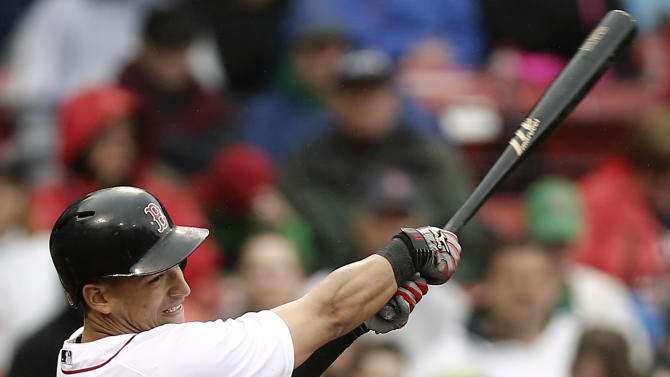 Boston Red Sox's Jose Iglesias connects on his third hit of a baseball game during the sixth inning against the Cleveland Indians at Fenway Park in Boston, Saturday, May 25, 2013. (AP Photo/Winslow Townson)