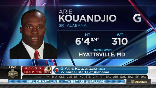 Washington Redskins pick guard Arie Kouandjio No. 112 in the 2015 NFL Draft