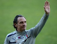 Italy&#39;s national football team coach, Cesare Prandelli, pictured during a training session on May 28, at the Ennio Tardini stadium in Parma. An earthquake in the Emilia Romagna region forced Tuesday&#39;s friendly against Luxembourg in Parma to be called off