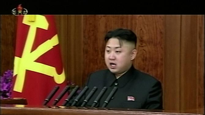 FILE - In this Tuesday, Jan. 1, 2013 file image made from video, North Korean leader Kim Jong Un gives his first speech for the New Year in Pyongyang, North Korea, calling for his country to focus on economic improvements with the same urgency that scientists put into the launch of a long-range rocket last month. North Korea swiftly lashed out against the U.N. Security Council's condemnation of its December launch of a long-range rocket, saying Wednesday, Jan. 23, that it will strengthen its military defenses — including its nuclear weaponry — in response. The defiant statement from North Korea's Foreign Ministry was issued hours after the Security Council unanimously adopted a resolution condemning Pyongyang's Dec. 12 rocket launch as a violation of a ban against nuclear and missile activity. (AP Photo/KRT via AP Video, File) TV OUT, NORTH KOREA OUT