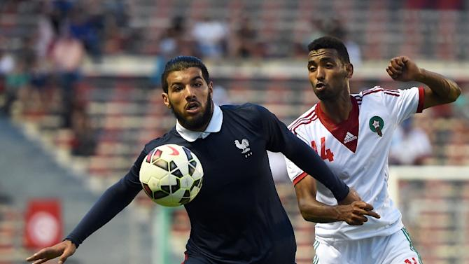 Fares Bahlouli (L) during the Under 21 international football final match between France and Morocco, at the Mayol Stadium in Toulon on June 7, 2015