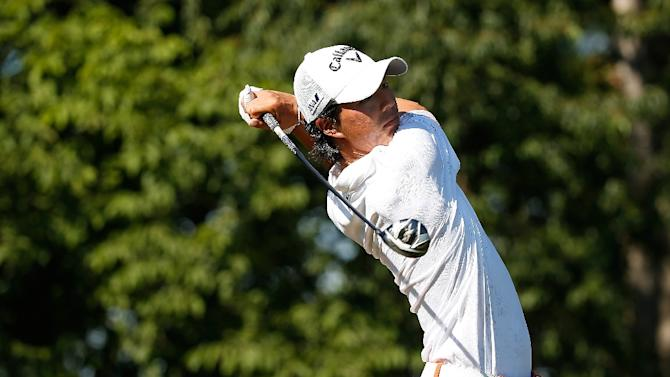 Ryo Ishikawa of Japan watches his tee shot on the 13th hole during the second round of the Quicken Loans National at the Robert Trent Jones Golf Club on July 31, 2015 in Gainesville, Virginia
