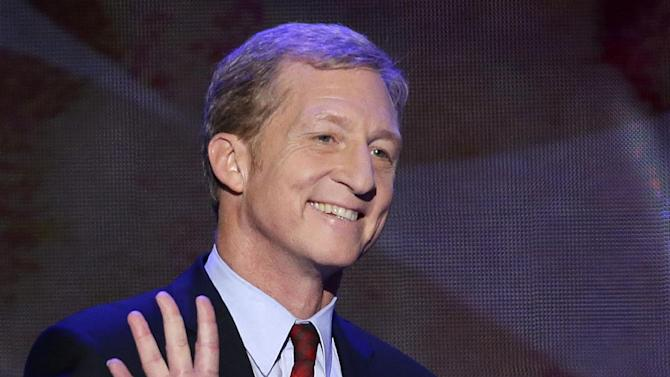 FILE - In this Sept. 5, 2012 file photo, Tom Steyer waves as he walks to the podium to address the Democratic National Convention in Charlotte, N.C.    Steyer continued to funnel cash from his personal fortune to his pro-environment super PAC, NextGen Climate Action. Steyer in August wrote his federal committee a $15 million check as it ramps up a political operations to help candidates who pledge to back legislation fighting combat climate change.  (AP Photo/J. Scott Applewhite, File)