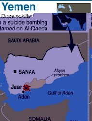 Map locating the town of Jaar where dozens died in a suicide bombing. A suicide bombing in south Yemen blamed on Al-Qaeda has killed 45 people, local officials said, as residents voiced fears that a lack of security personnel on the ground will allow the jihadists to return