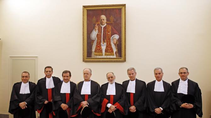 Members of the Tribunal of Vatican City, pose during the opening of the Judicial Year at the Vatican