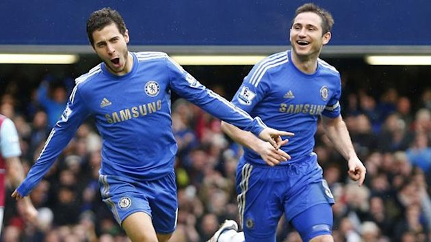 Eden Hazard of Chelsea (L) celebrates scoring against West Ham next to team mate Frank Lampard (Reuters)