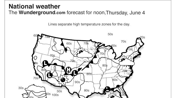 A front will produce a chance of showers and thunderstorms for the mid-Atlantic region and Southeast. Showers and storms will be possible from the northern Rockies to the upper Midwest. The Pacific Northwest will have a chance of showers. (Weather Underground via AP)