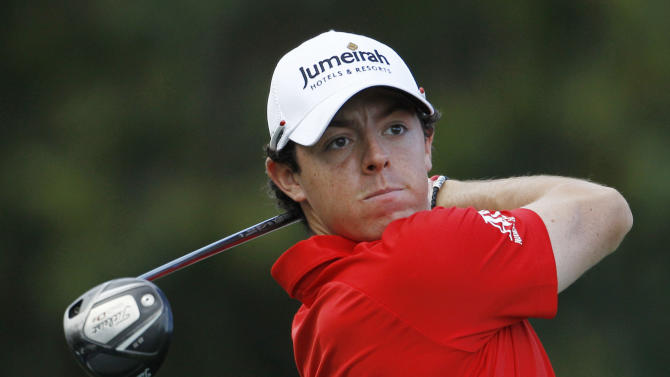 Rory McIlroy hits from the 17th tee during the second round of the Cadillac Championship golf tournament on Friday, March 9, 2012 in Doral, Fla. (AP Photo/Lynne Sladky)
