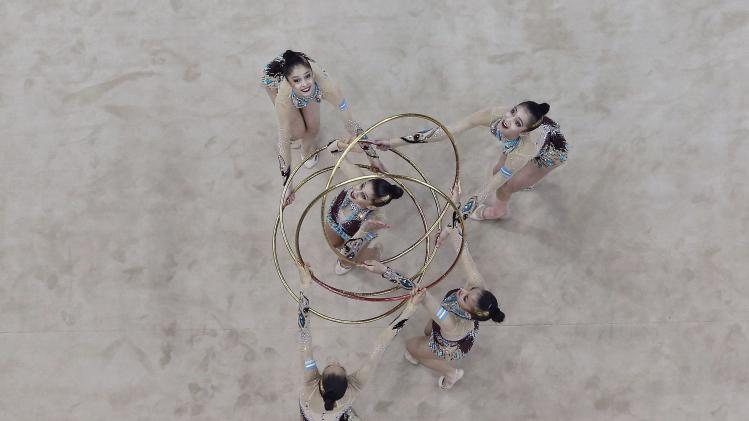 Uzbekistan's team competes during the rhythmic gymnastics group all-around final match at the 2014 Nanjing Youth Olympic Games in Nanjing
