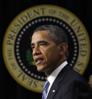 President Barack Obama talks about taxes, Friday, Aug. 3, 2012, in the Old Executive Office building of the White House complex in Washington. (AP Photo/Pablo Martinez Monsivais)