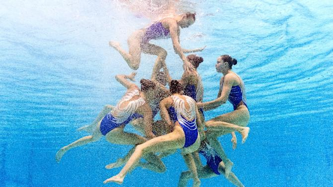 Team Russia competes in the Team Free final event during the synchronised swimming competition at the 2015 FINA World Championships in Kazan on July 31, 2015