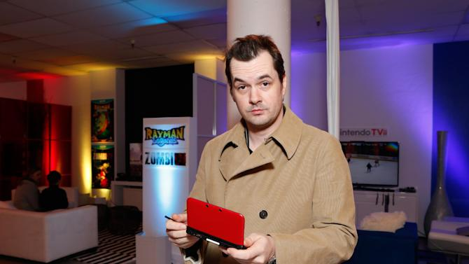 Writer Jim Jefferies warms up and checks out Nintendo 3DS XL at the Nintendo Lounge during a break from the Sundance Film Festival on Saturday, January 20, 2013 in Park City, UT. (Photo by Todd Williamson/Invision for Nintendo/AP Images)
