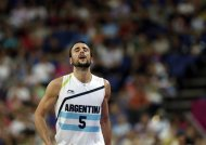 Argentina&#39;s Manu Ginobili reacts during the men&#39;s bronze medal basketball game against Russia at the 2012 Summer Olympics, Sunday, Aug. 12, 2012, in London. Russia won 81-77. (AP Photo/Charles Krupa)