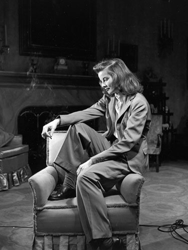 Katherine Hepburn in a menswear style suit, 1938