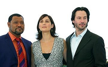 Laurence Fishburne, Carrie Anne Moss and Keanu Reeves