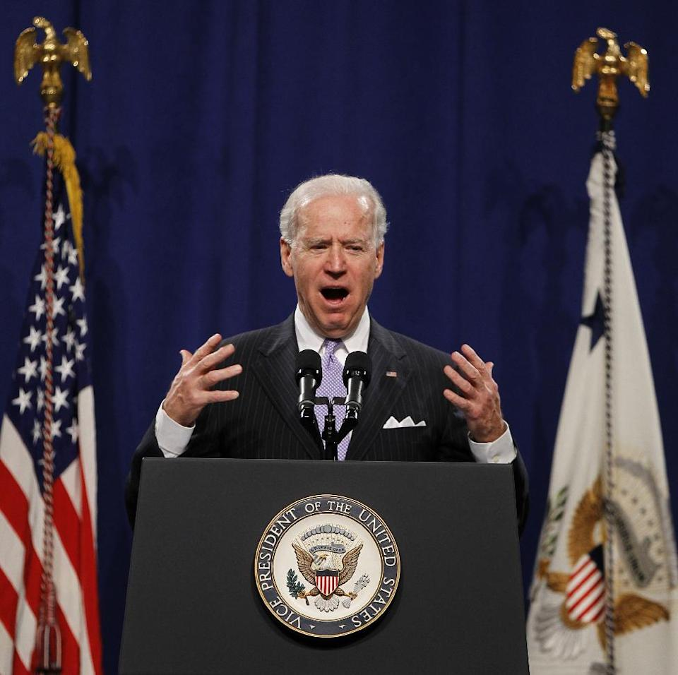 Vice President Joe Biden speaks at the House Democratic Issues Conference in Leesburg, Va., Wednesday, Feb. 6, 2013. (AP Photo/Luis M. Alvarez)
