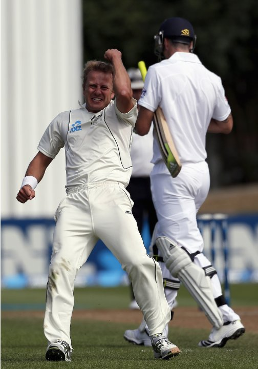 New Zealand's Wagner celebrates after dismissing England's Pietersen for 12 runs during fifth day of first test in Dunedin