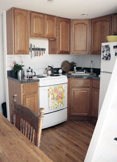 The super-clean, compact kitchen below the sleeping loft.