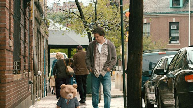 "This film image released by Universal Pictures shows Mark Wahlberg, right, with the character Ted, voiced by Seth MacFarlane in a scene from ""Ted."" (AP Photo/Universal Pictures)"