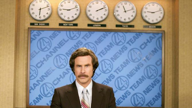 """FILE - This 2004 file photo originally released by Paramount Pictures shows Will Ferrell as anchorman Ron Burgundy in """"Anchorman: The Legend of Ron Burgundy."""" Emerson College is changing the name of its school of communication. The college in Boston will rename the school for one day only, the Ron Burgundy School of Communication on Dec. 4 to honor the fictitious television anchorman. Ferrell, in character, is scheduled to share his path to journalism greatness with students. His visit will include a news conference, the renaming ceremony and a screening of """"Anchorman 2: The Legend Continues."""" Ferrell, as himself, will introduce the movie. The sequel opens nationwide on Dec. 20. (AP Photo/Paramount Pictures, Frank Masi)"""