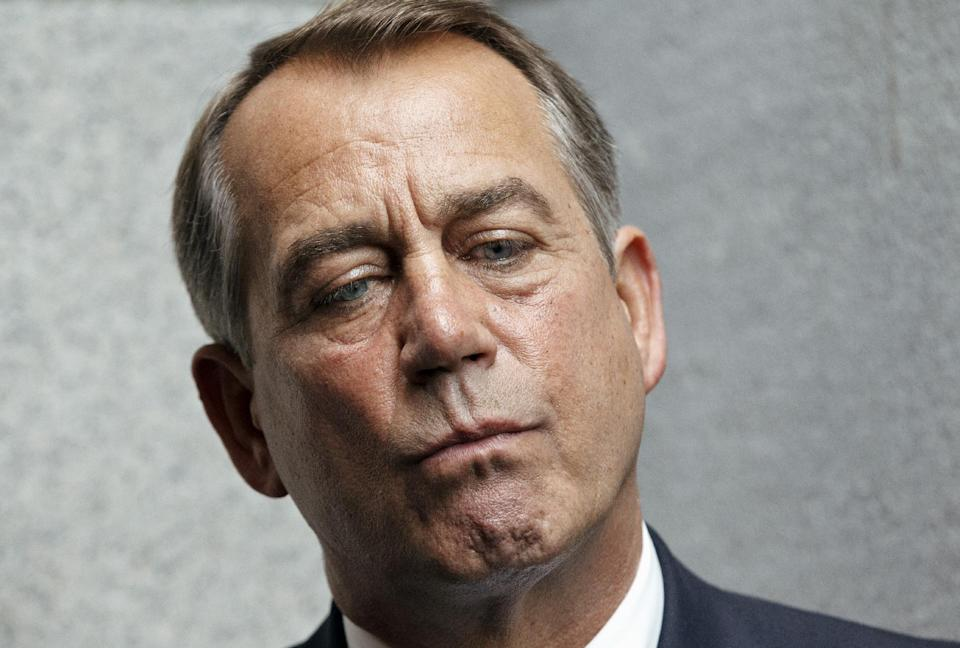 House Speaker John Boehner of Ohio pauses while talking about an accord on the payroll tax cut negotiations, Wednesday, Feb. 15, 2012, during a news conference on Capitol Hill in Washington. (AP Photo/J. Scott Applewhite)