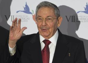 Cuba's President Raul Castro waves as he arrives …
