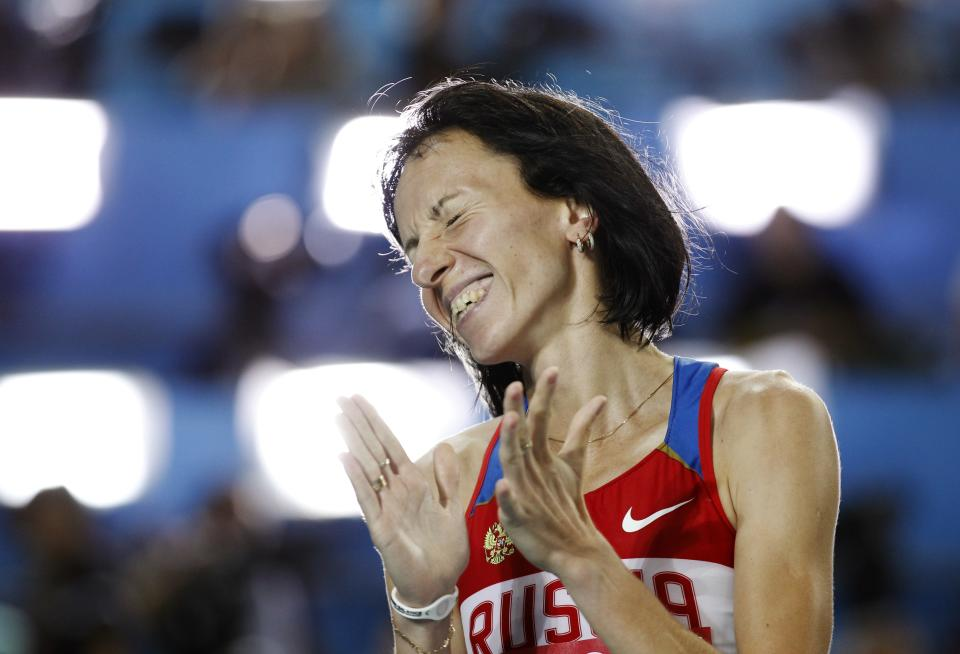 Russia's Mariya Savinova celebrates after winning the Women's 800m final at the World Athletics Championships in Daegu, South Korea, Sunday, Sept. 4, 2011. (AP Photo/Matt Dunham)