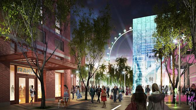 This image provided by provided by Caesars Entertainment Corp. shows an artists conception of an area named LINQ across Las Vegas Boulevard from the flagship Caesars Palace. LINQ is a pedestrian mall named for its location linking three company properties _ Harrah's Las Vegas, the Flamingo and the renamed Quad, formerly the Imperial Palace_ and twelve tenants have claimed a little more than two-thirds of the space.(AP Photo/Caesars Entertainment Corp.)