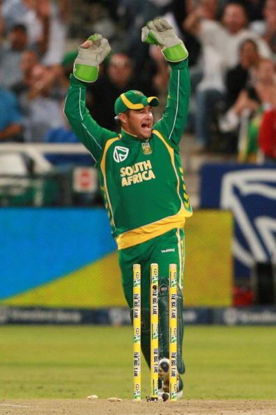 CAPE TOWN, SOUTH AFRICA - APRIL 09:  Mark Boucher from the Proteas celebrates during the 3rd ODI match between South Africa and Australia at Sahara Park Newlands on April 9, 2009 in Cape Town, South A