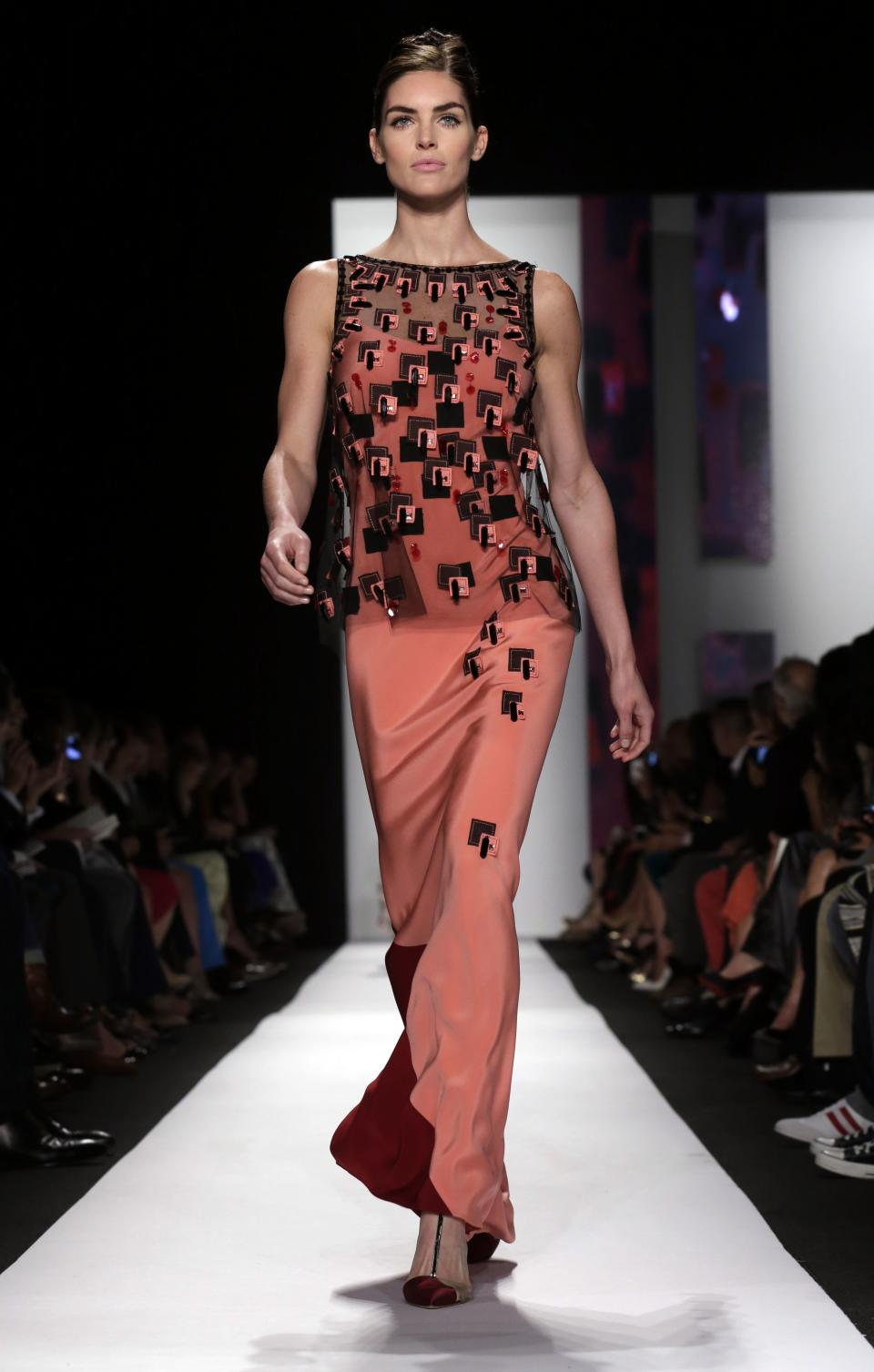The Carolina Herrera Spring 2014 collection is modeled during Fashion Week in New York, Monday, Sept. 9, 2013. (AP Photo/Richard Drew)
