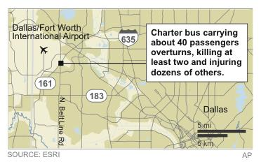 Map locates fatal bus crash near Dallas