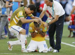 Neymar reacts after the penalty shootout at the World Cup round of 16 soccer match between Brazil and Chile. (AP)