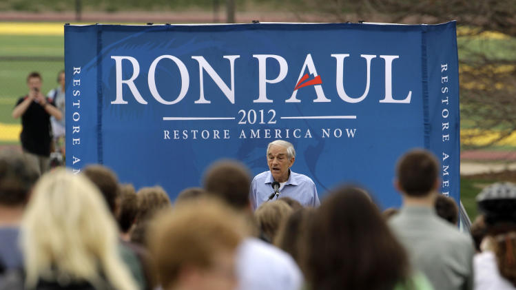 Republican presidential candidate, Rep. Ron Paul, R-Texas speaks at the University of Missouri, Thursday, March 15, 2012, in Columbia, Mo. (AP Photo/Charlie Riedel)