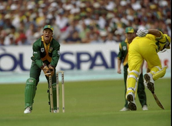 13 Jun 1999:  Mark Boucher of South Africa runs out Mark Waugh of Australia during the World Cup Super Six match at Headingley in Leeds , England. Australia won by 5 wickets to join South Africa in th