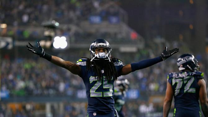 Seattle Seahawks' Richard Sherman during the NFC Divisional Playoff game against the Carolina Panthers at CenturyLink Field on January 10, 2015