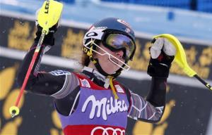 Shiffrin of the U.S. celebrates after winning the World Cup alpine skiing women's slalom race in Bormio