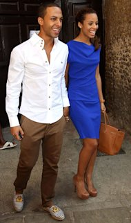 Rochelle Wiseman does cobalt blue for first outing as Mrs Marvin Humes!