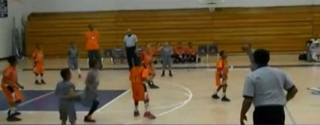 8-year-old hits incredible no-look 3-pointer