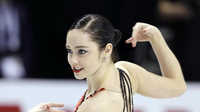 Kaetlyn Osmond, of Canada, performs during the free skate program in the ladies competition at the World Figure Skating Championships Saturday, March 16, 2013, in London, Ontario. (AP Photo/Darron Cummings)