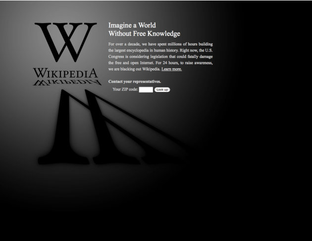 This screen shot shows the blacked-out Wikipedia website, announcing a 24-hour protest against proposed legislation in the U.S. Congress, intended to protect intellectual property that critics say cou